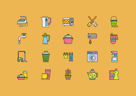 home equipment: Set of thin, lines, outline, strokes icons. Cooking tools, kitchenware equipment, food preparation elements, home appliance microwave, iron, kettle, blender. For web and mobile applications