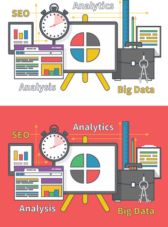 parameters: Stand with charts and parameters. Business concept of analytics. Analysis big data seo in flat design. Can be used for web banners, marketing and promotional materials, presentation templates