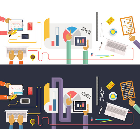 Marketing Strategy: Concept of business process, worlflow top view. Data collection and analysis. Teamwork concept in flat design. Team works together on a project. Brainstorming in a meeting Illustration