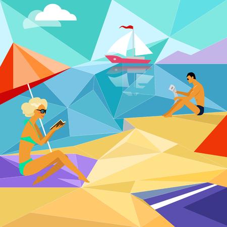 Zomer strand mensen. Ontspanning vakantie, zonnebaden en recreatie, meisje lichaam. Man en vrouw op het strand lezen van een boek en een krant in de buurt van het jacht zeilen. Driehoek mozaïek geometrische stijl