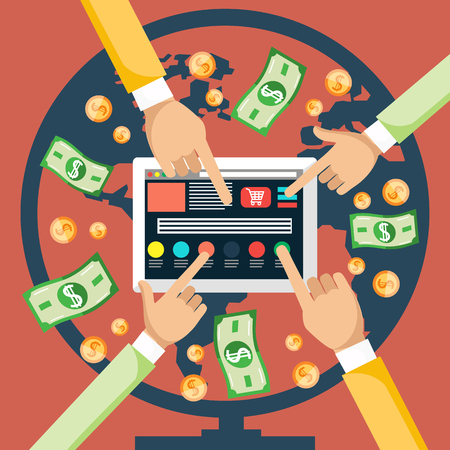 click button: Pay per click internet advertising model when the ad is clicked. Monitor with button buy modern flat design cartoon style. Hands pushing a button on the monitor Illustration