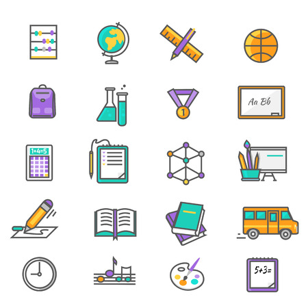 school computer: Set of thin lines, outline icons education back to school. Items for study ruler, pencil, bus, backpack, computer, flasks, globe on white background. For web and mobile applications