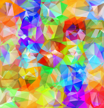 bright color: Abstract geometric background. Multicolored triangles background. Beautiful inscription. Triangle background with bright lines. Pattern of crystal geometric shapes
