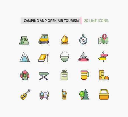 turismo: Set di linea sottile icone pittogramma con elementi di design piatto su sfondo bianco. Attrezzatura da campeggio, turismo all'aria aperta, attività di trekking, all'aperto avventura, turismo ricreazione, alpinismo Vettoriali