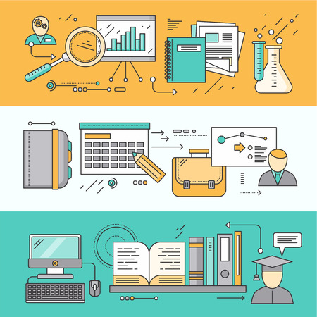 experience: Process research planning and learning. Strategy concept, management plan educate, control, science experience, education and discover, brainstorming and implementation. Set of thin, lines flat icons Illustration