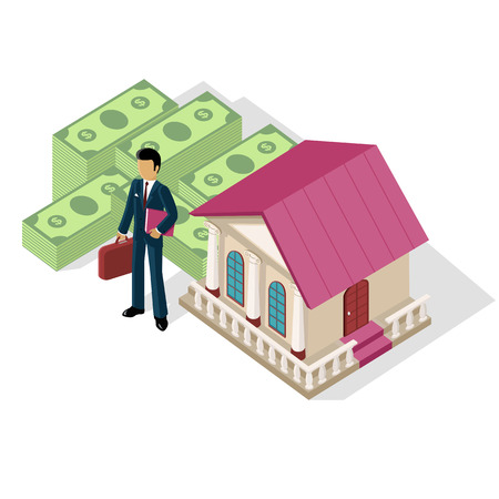 paying: Isometric icon businessman bank cash. Money and currency, business finance, exchange and earnings, banknote paying, deposit and economy, capital and profit, commerce financial payment illustration