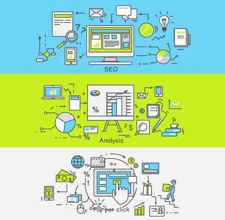 klik: Dunne lijnen schetsen pictogrammen staan met grafieken en parameters, pay per click, seo. . Business concept van analytics. Zoek machine optimalisatie. Pictogram voor websites en mobiele applicaties.
