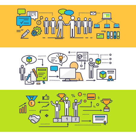 teamwork: Concept of process of successful teamwork. Business strategy, idea and solution, growth and progress, partnership management, development creative illustration. Set of thin, lines, outline flat icons Illustration
