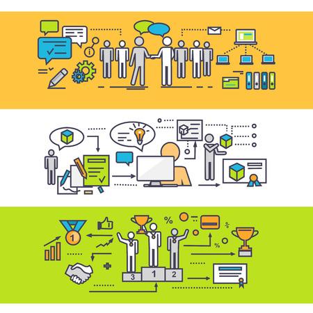 trabajo en equipo: Concepto de proceso de trabajo en equipo exitoso. Estrategia de negocio, la idea y la solución, el crecimiento y el progreso, la gestión de la asociación, el desarrollo de ilustración creativa. Conjunto de finas, líneas, esbozan iconos planos