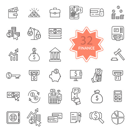 Set of thin, lines, outline financial service items icons, banking accounting tools, stock market global trading and money objects and elements. Flat thin line icons modern design style