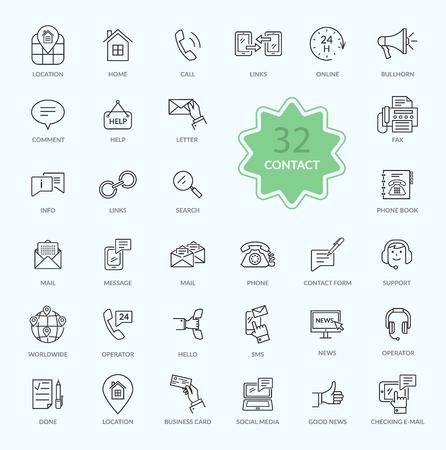 접촉의 얇은 선, 개요 아이콘. 지원 개념을 설정합니다. 피드백 아이콘입니다. 웹 사이트 구축, 모바일 애플리케이션, 배너, 기업 브로셔, 책 표지, 레이