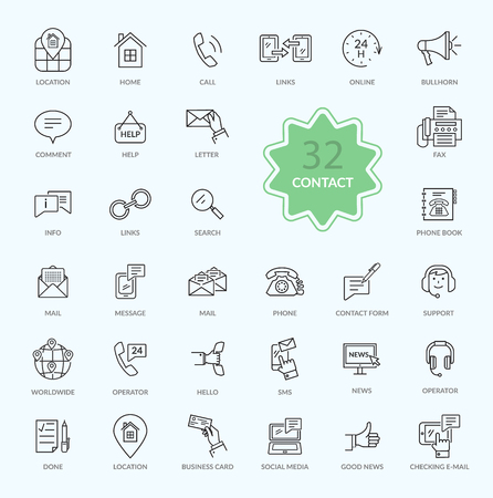 contact information: Thin, lines, outline icons of contact. Support concept set. Feedback icon. For web site construction, mobile applications, banners, corporate brochures, book covers, layouts etc.