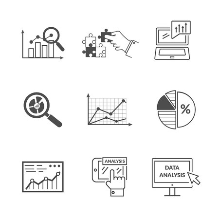 Set of black icons data analysis. Information optimization, trend development, idea and strategy, financial growth, infographic seo, process finance statistic. Set of thin, lines icons Illustration