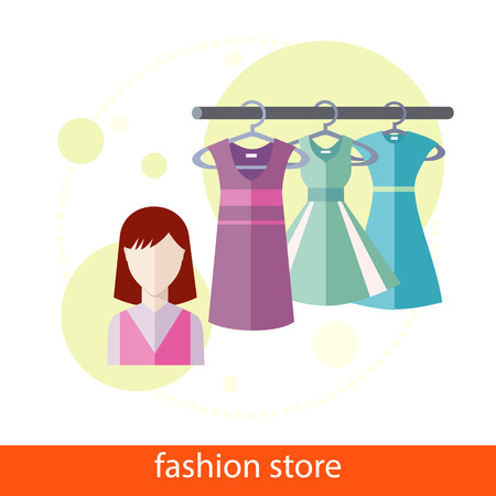 casual dress: Set of summer and autumn dresses clothes for office in fashion store. Concept in flat design. Icons on white background