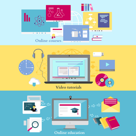 literature: Concept of distance learning and education. Online tutorial and video course, research and graduation, science and webinar, digital elearning, test and literature illustration