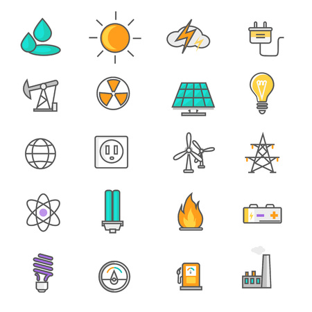power industry: Set of thin lines icons energy and resource icon set power and energy production, electric industry, natural energy sources. Flat thin line icons modern design style