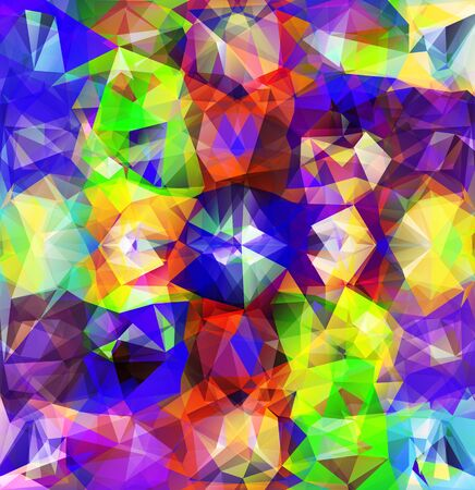 digital art: Abstract geometric background version. Multicolored triangles. Beautiful inscription. Triangle background with bright lines. Pattern of crystal geometric shapes Illustration