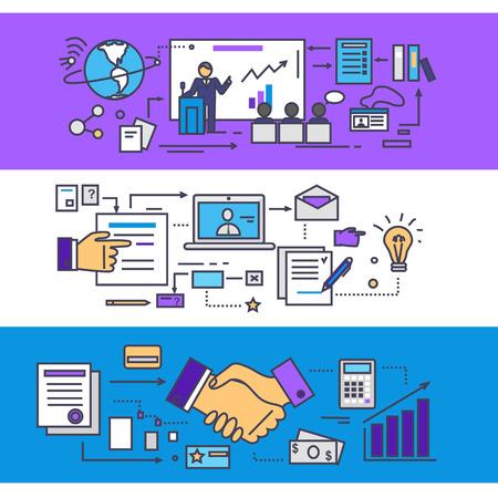 조직: 컨퍼런스 및 컨설팅 비즈니스 파트너 개념입니다. 회의 및 팀웍, 통신 기업, 관리 및 조직 토론, 세미나 전략 분석. 얇은 라인 플랫 아이콘의 집합
