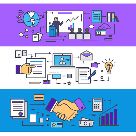 organization: Conference and consulting business partners concept. Meeting and teamwork, communication corporate, management and organization discussion, seminar strategy analysis. Set of thin, lines flat icons