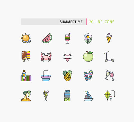 animal kite: Set of thin lines icons summertime. Traveling journey, water travel to resort summer vacation, relaxing on beach, recreational rest, holiday trip for leisure activity. Flat thin line icon modern style Illustration