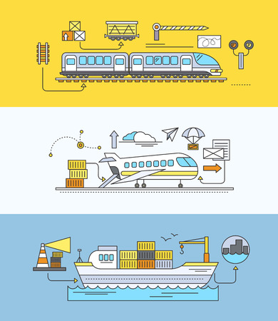 forwarding: Concept of Freight Forwarding rail by sea and air. Transport delivery, shipping import industry, distribution and logistic, export railway transportation. Set of thin, lines, outline flat icons
