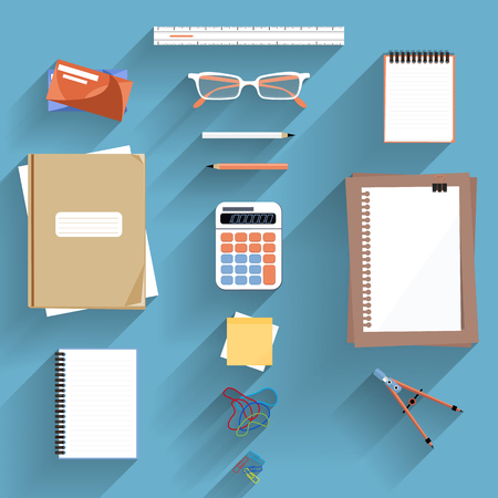 ruler: Office workplace. Calculator, ruler, book and paper page icon on an office desk. Flat icon modern design style concept