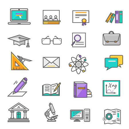 computer education: Set of thin lines, outline icons education. Items for study ruler, pencil, microscope, backpack, computer, books, glasses on white background. For web and mobile applications