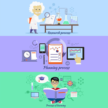 Process research planning and learning. Strategy concept, management plan educate, method control, science experience, education and discover, brainstorming and implementation illustration