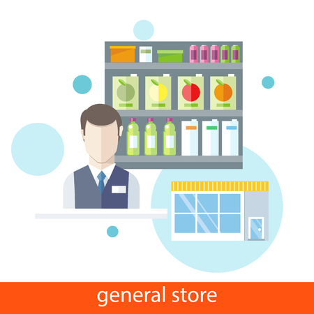 food store: Supermarket general store. Shelfs with food and potables near seller in flat design style. Icons on white background