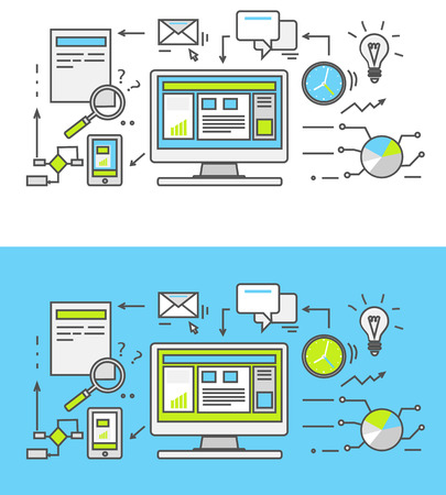 Thin line SEO icons. Pictogram for websites and mobile applications. Search engine optimization. SEO optimization, programming process and web analytics elements in flat design. Monitoring, traffic Vectores