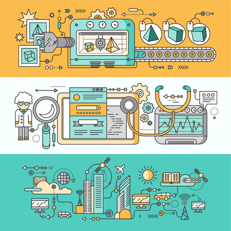 Concept smart innovation technology. 3D printer and seo analytics, infrastructure and smart industry city, system development, management and control illustration. Set of thin, lines flat icons