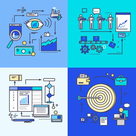 eficiencia: El desarrollo de la visión, el progreso y la meta de flujo de trabajo. Estrategia empresarial, gestión de procesos y desarrollar, controlar el análisis de la eficiencia, el crecimiento de la organización profesional de la empresa. Conjunto de iconos planos, líneas finas