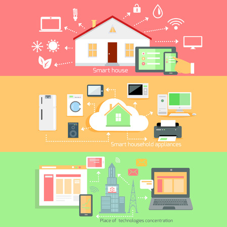 home concept: Remote wireless control of home appliances. Place technology concentration, household appliance, smart house, communication house system, automation interconnection, living service illustration