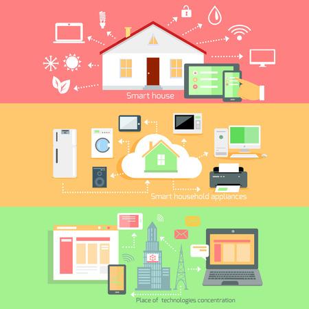Télécommande sans fil des appareils ménagers. Placez la concentration de la technologie, de l'électroménager, la maison intelligente, système de maison de la communication, l'interconnexion de l'automatisation, vivant services illustration