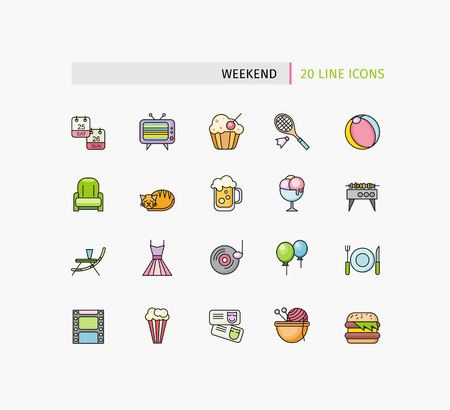 picnic basket: Set of thin lines picnic icons. Summertime holiday template with picnic outdoor summer accessories, illustration and icon set flat design of weekend traveling, holiday Illustration