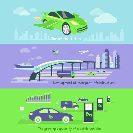 electric automobile: Concept of development of transport infrastructure maritime and air. Transportation future growing, electric vehicle popularity, traffic automobile, auto technology illustration Illustration