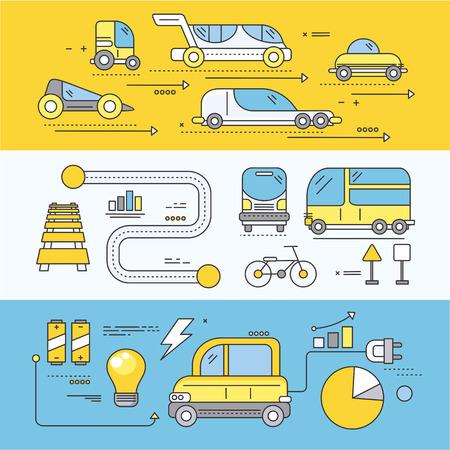 미래 도로 수송의 개념 자동차. 교통 자동차, 드라이브 기술, 자동차, 전기, 미래 엔진, 혁신 효율성 진행 그림입니다. 얇은 세트, 선, 평면 아이콘 개요 일러스트