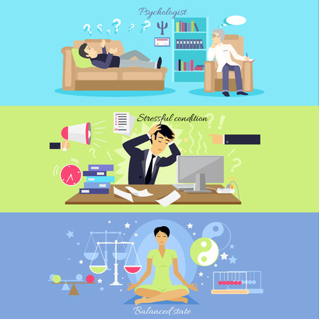 Psychological human mental balance. Psychologist and stressfull condition state, mental emotion, psychology health, personality disorder, stress and depression feeling illustration Vectores
