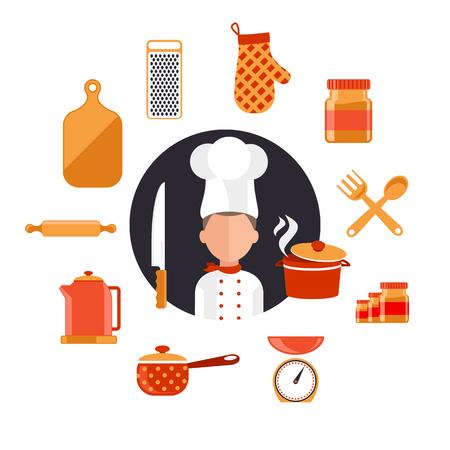hombre cocinando: Iconos del concepto de diseño plano de los utensilios de cocina con un chef. Herramientas de cocina y equipo de cocina, sirven comidas y elementos de preparación de alimentos. Cocinero y carácter herramienta. Conjunto de iconos en blanco