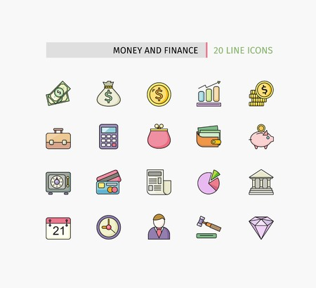 Set of financial service items, banking accounting tools, stock market global trading and money objects and elements. Flat thin line icons modern design style