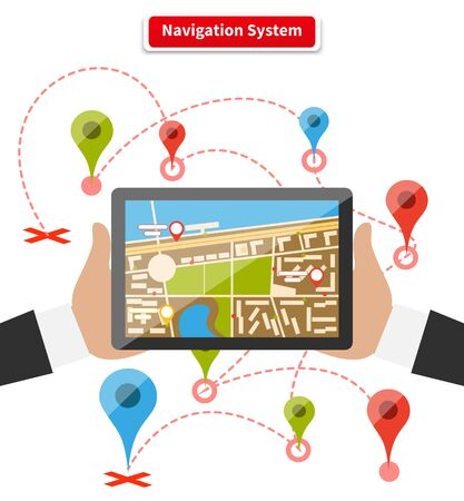 map pin: Hands hold smartphone with map of imaginary city with GPS icon and pin template of navigation system. Delivery concept on white background in flat cartoon design style. Illustration