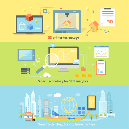 Concept smart innovation technology. 3D printer and seo analytics, infrastructure and smart industry city, system development, management and control illustration