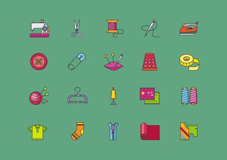 maquinas de coser: Conjunto de iconos de estilo plano de costura creativa. Hecho a mano y la industria de tejido, costura y la artesanía, la artesanía y la costura, la aguja y las tijeras, el pin y la ilustración de carrete Vectores
