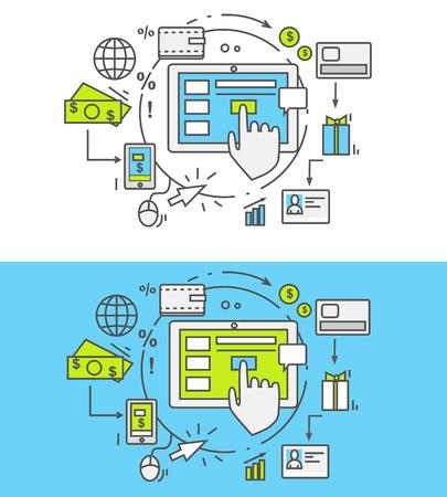klik: Flat dunne, lijnen, overzicht iconen van pay per click. Creatief ontwerp elementen voor websites, mobiele apps en drukwerk. Pay per click reclame op het internet model wanneer de advertentie wordt geklikt