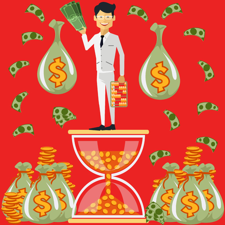 winnings: Smiling businessman standing on the hourglass in which coin holding dollars near bags of money. Winnings in lottery. Time is money concept. Flying around dollar notes cartoon red flat design style