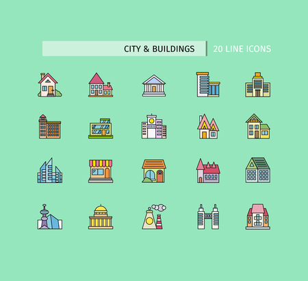 apartment buildings: City buildings icons. Set of thin lines color icons on green background. For web site construction, mobile applications, banners, corporate brochures book covers layouts Illustration