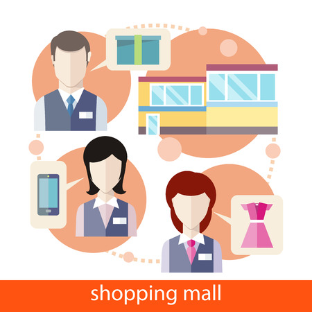 shopping mall: Luxury and fashionable european different clothes and devices shop. Shopping mall concept in flat design. Icons on white background