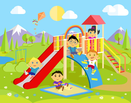 play boy: Playground with slide and children. Park play kid, outdoor childhood, equipment and ladder, happiness and recreational, nature and leisure, recreation and summer illustration