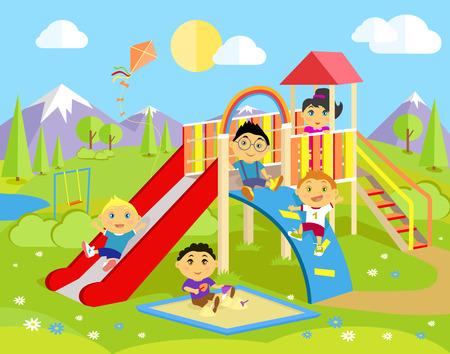 escaleras: Zona de juegos con tobogán y niños. Parque jugar niño, infancia al aire libre, el equipo y la escalera, la felicidad y la recreación, naturaleza y ocio, la recreación y la ilustración de verano