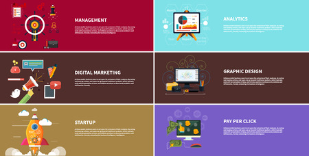 digital technology: Banner set. Management digital marketing srartup planning and analytics design and development launch. Icons for web design analytics graphic design and pay per click